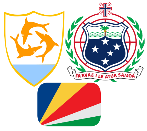 Anguilla, Seychelles and Samoan Flags
